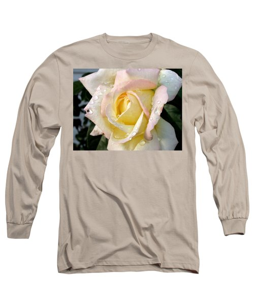 Rose And Raindrops Long Sleeve T-Shirt by Cynthia Lassiter