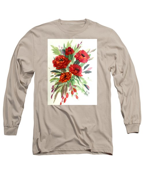 Long Sleeve T-Shirt featuring the painting Rose Love by Dorothy Maier