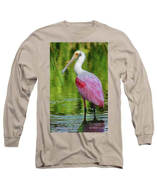 Roseate Spoonbill Portrait Long Sleeve T-Shirt by Larry Nieland