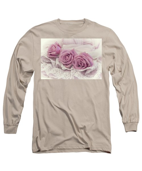 Roses And Beaded Lace Long Sleeve T-Shirt by Sandra Foster