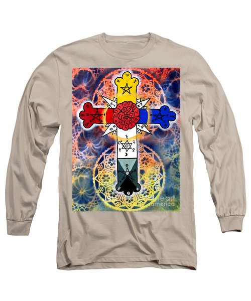 Rosy Cross Long Sleeve T-Shirt by Luke Galutia