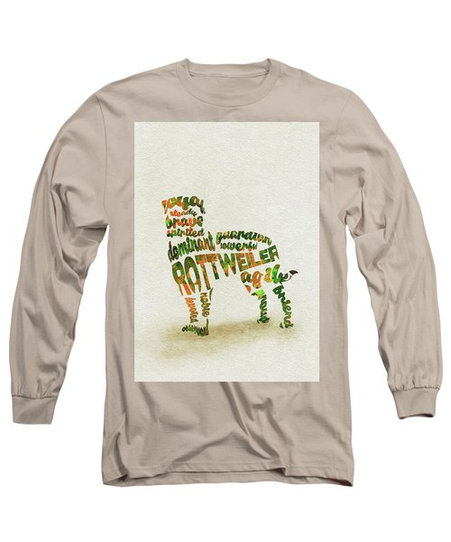 Long Sleeve T-Shirt featuring the painting Rottweiler Dog Watercolor Painting / Typographic Art by Inspirowl Design