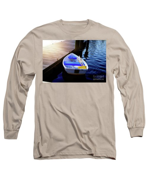 Rowboat At Sunset Long Sleeve T-Shirt by Inspirational Photo Creations Audrey Woods