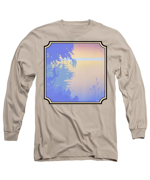 Rowing Back To The Boat Dock At Sunset Abstract Long Sleeve T-Shirt