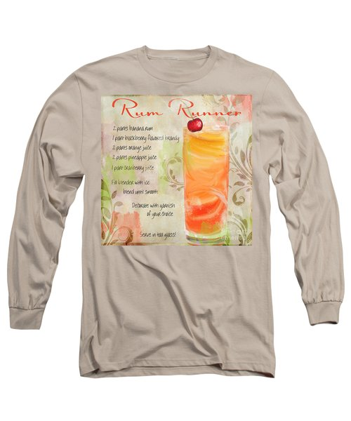 Rum Runner Mixed Cocktail Recipe Sign Long Sleeve T-Shirt by Mindy Sommers