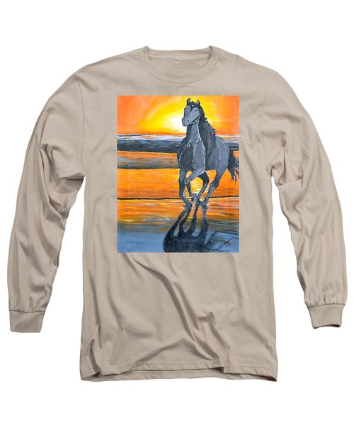 Long Sleeve T-Shirt featuring the painting Run Free by Donna Blossom
