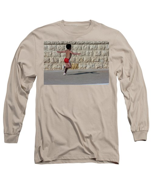 Long Sleeve T-Shirt featuring the photograph Running Child by Bruno Spagnolo