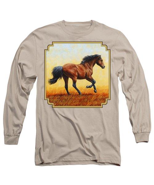 Running Horse - Evening Fire Long Sleeve T-Shirt