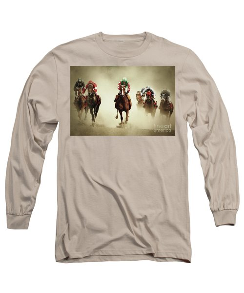 Running Horses In Dust Long Sleeve T-Shirt