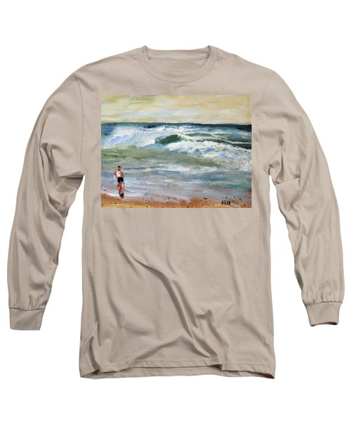 Running The Beach Long Sleeve T-Shirt by Michael Helfen
