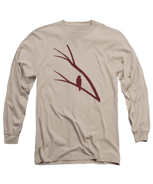 Rustic Bird Art Dark Red Bird Silhouette Long Sleeve T-Shirt