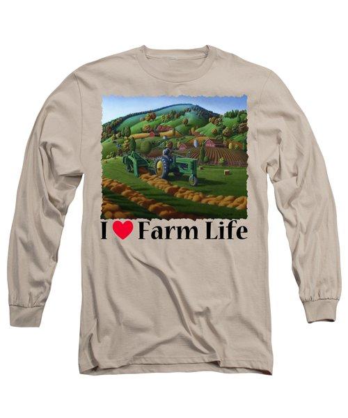 Rustic John Deere Farm Tractor Baling Hay - Rural Country Folk Art Landscape - Summer Americana Long Sleeve T-Shirt