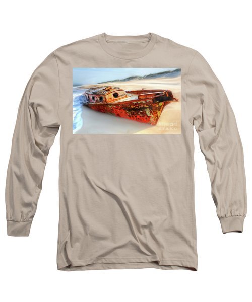 Long Sleeve T-Shirt featuring the painting Rusty Shipwreck On The Outer Banks Of North Carolina Ap by Dan Carmichael