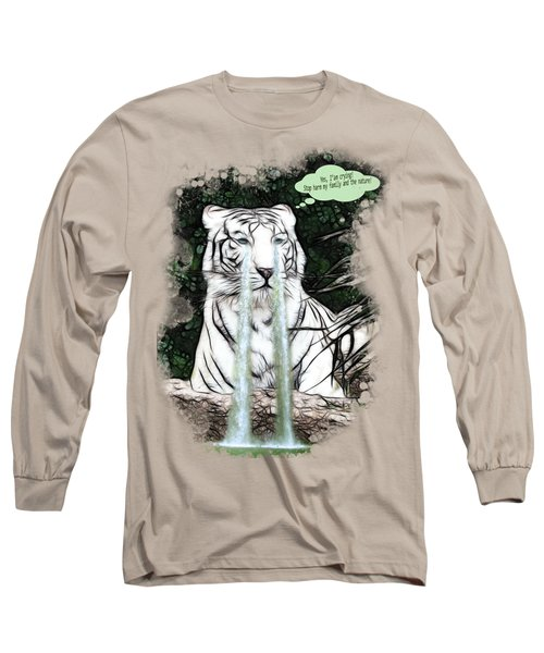 Sad White Tiger Typography Long Sleeve T-Shirt by Georgeta Blanaru