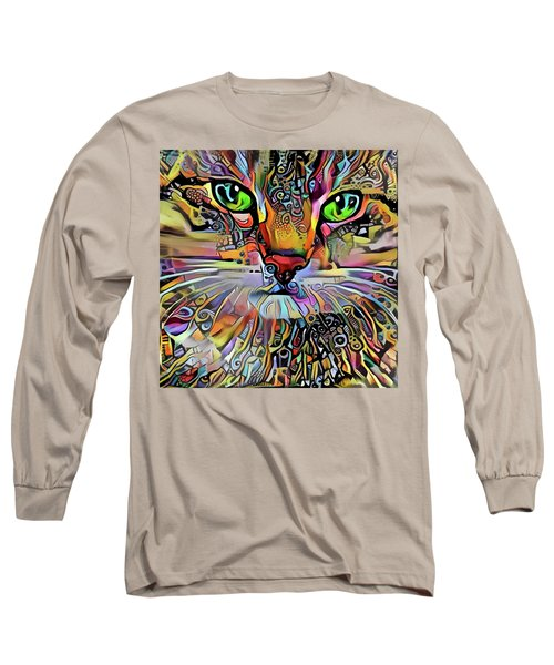 Sadie The Colorful Abstract Cat Long Sleeve T-Shirt