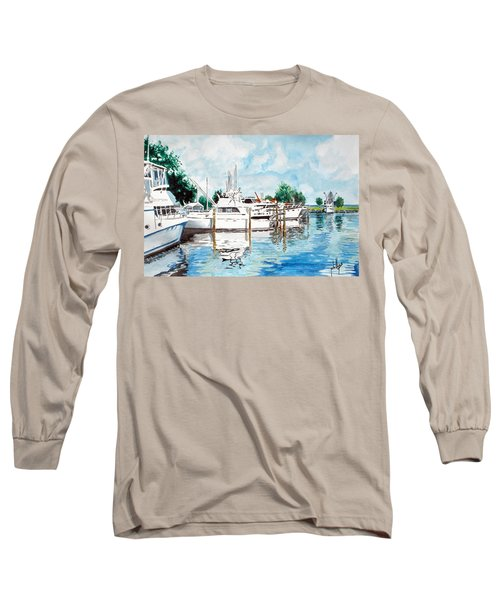 Long Sleeve T-Shirt featuring the painting Safe Harbor by Jim Phillips