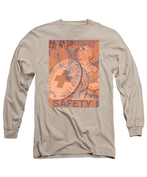 Long Sleeve T-Shirt featuring the digital art Safety Kangaroo First by Nop Briex
