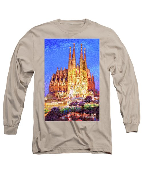 Long Sleeve T-Shirt featuring the painting Sagrada Familia At Night by Jane Small