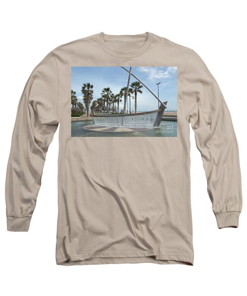 Sail Boat Fountain In Valencia Long Sleeve T-Shirt