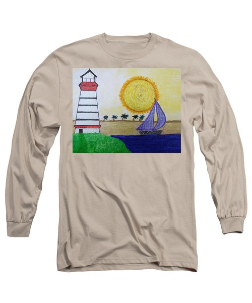 Sail Boat With Purple Sails Long Sleeve T-Shirt