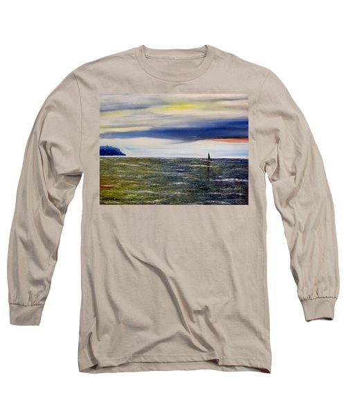 Long Sleeve T-Shirt featuring the painting Sailing At Dusk by Marilyn  McNish