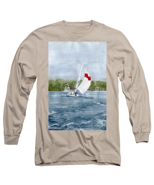 Long Sleeve T-Shirt featuring the painting Sailing On Niagara River by Melly Terpening