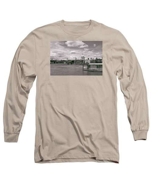 Saint Pauls Cathedral Along The Thames Long Sleeve T-Shirt by Nop Briex