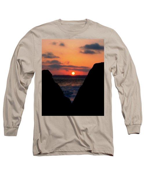 San Clemente Beach Rock View Sunset Portrait Long Sleeve T-Shirt by Matt Harang
