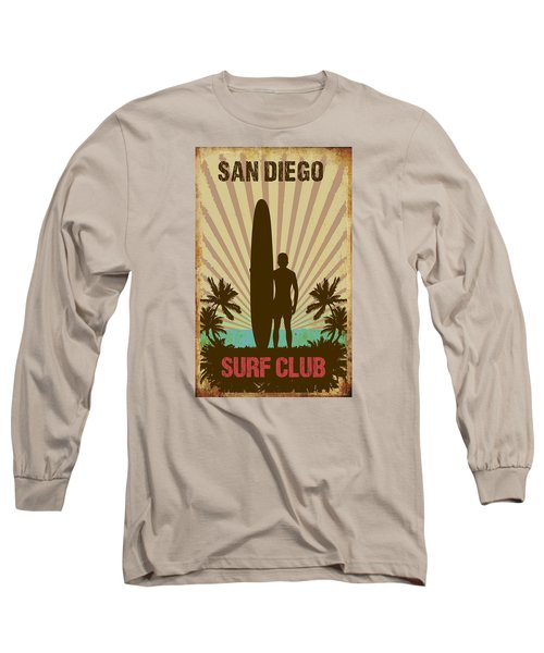 Long Sleeve T-Shirt featuring the digital art San Diego Surf Club by Greg Sharpe