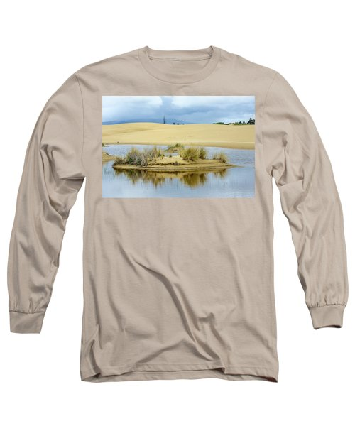 Sand Dunes And Water Long Sleeve T-Shirt by Jerry Cahill