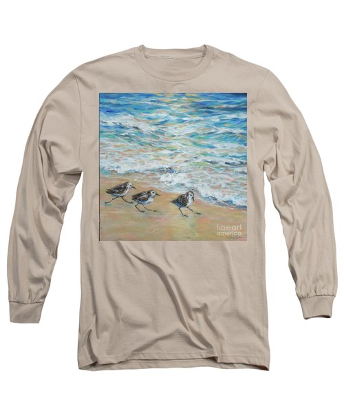 Sanderlings Running Long Sleeve T-Shirt by Linda Olsen