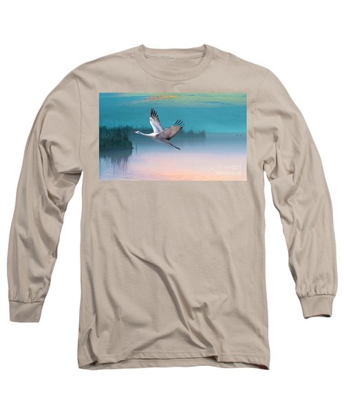 Sandhill Crane And Misty Marshes Long Sleeve T-Shirt