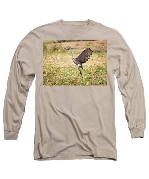 Long Sleeve T-Shirt featuring the photograph Sandhill Crane Morning Stretch by Ricky L Jones
