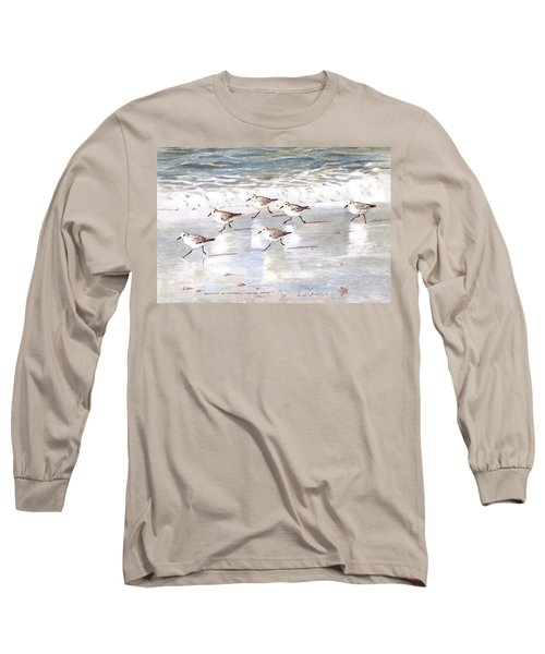 Sandpipers On Siesta Key Long Sleeve T-Shirt by Shawn McLoughlin