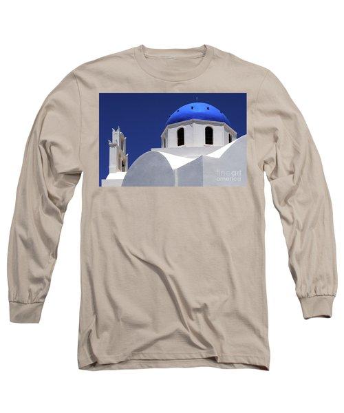 Santorini Greece Architectual Line 2 Long Sleeve T-Shirt by Bob Christopher