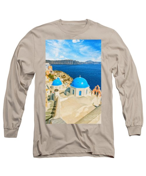 Santorini Oia Church Caldera View Digital Painting Long Sleeve T-Shirt