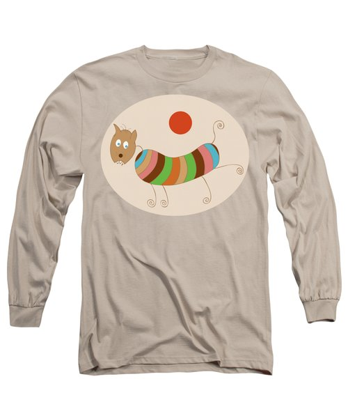 Sausage Dog In Ketchup Sunset Long Sleeve T-Shirt by Frank Tschakert