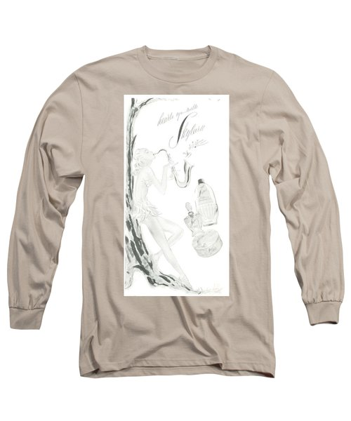 Long Sleeve T-Shirt featuring the digital art Sax Girl by ReInVintaged