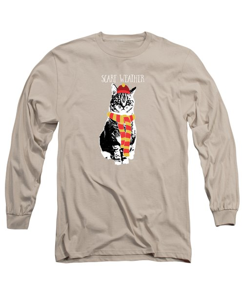 Scarf Weather Cat- Art By Linda Woods Long Sleeve T-Shirt by Linda Woods