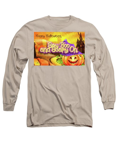 Long Sleeve T-Shirt featuring the digital art Scary On by Mo T