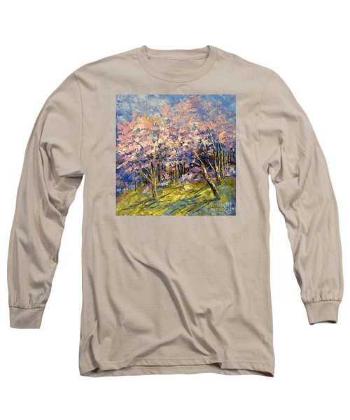 Long Sleeve T-Shirt featuring the painting Scented Blooms by Tatiana Iliina