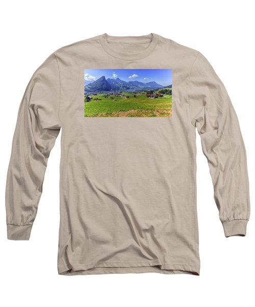Schwyz And Zurich Canton View, Switzerland Long Sleeve T-Shirt by Elenarts - Elena Duvernay photo