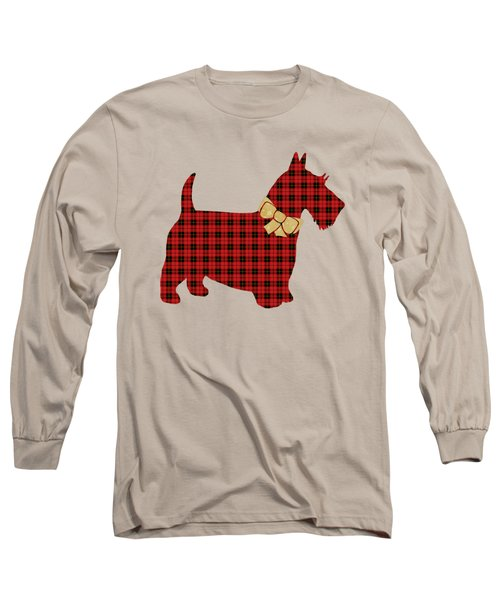 Long Sleeve T-Shirt featuring the mixed media Scottie Dog Plaid by Christina Rollo