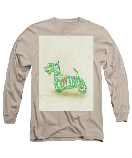 Long Sleeve T-Shirt featuring the painting Scottish Terrier Dog Watercolor Painting / Typographic Art by Inspirowl Design