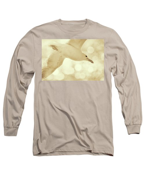 Long Sleeve T-Shirt featuring the photograph Sea Gull On Neutral Bokeh Background by Peggy Collins