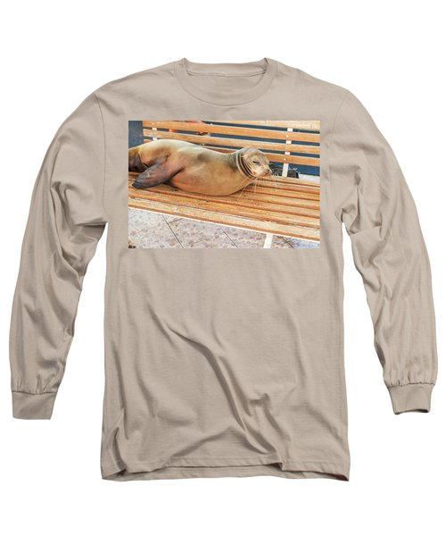 Sea Lion On A Bench, Galapagos Islands Long Sleeve T-Shirt by Marek Poplawski