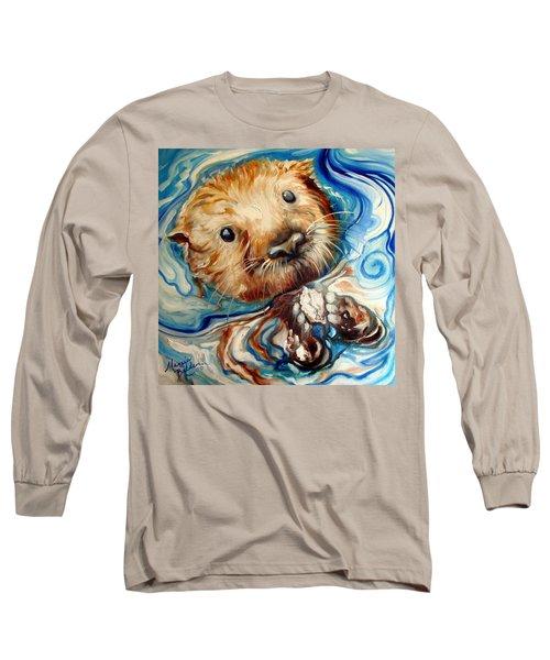 Sea Otter Swim Long Sleeve T-Shirt by Marcia Baldwin