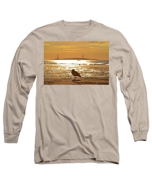 Seagull Admiring Thacher Island Gloucester Ma Good Harbor Beach Long Sleeve T-Shirt