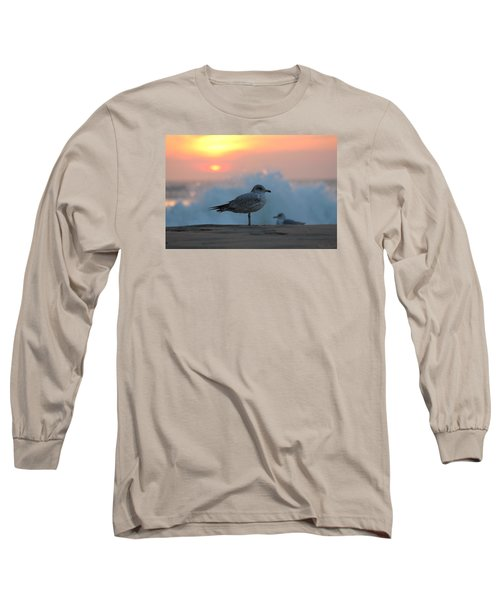 Seagull Seascape Sunrise Long Sleeve T-Shirt