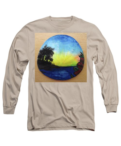 Seascape On A Sand Dollar Long Sleeve T-Shirt by Mary Ellen Frazee